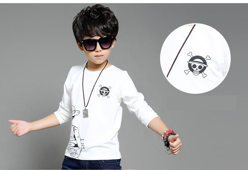 anime Skull sprinted kid t-shirt for boys clothes t-shirt long sleeve white gray cartoon children tops tees boys spring autumn 2017 new clothing (8)
