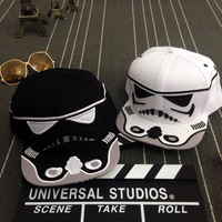 Star Wars Cartoon Cavalry Baseball Cap Personalized Robot Hip Hop Flat Hat Brand Snapback Black White