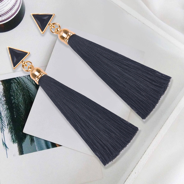 2018 Resin Stone Drop Earrings Gold Color Bohemian Vintage Black Blue Red Ethnic Long Fringe Tassel Earrings for Women Jewelry 4