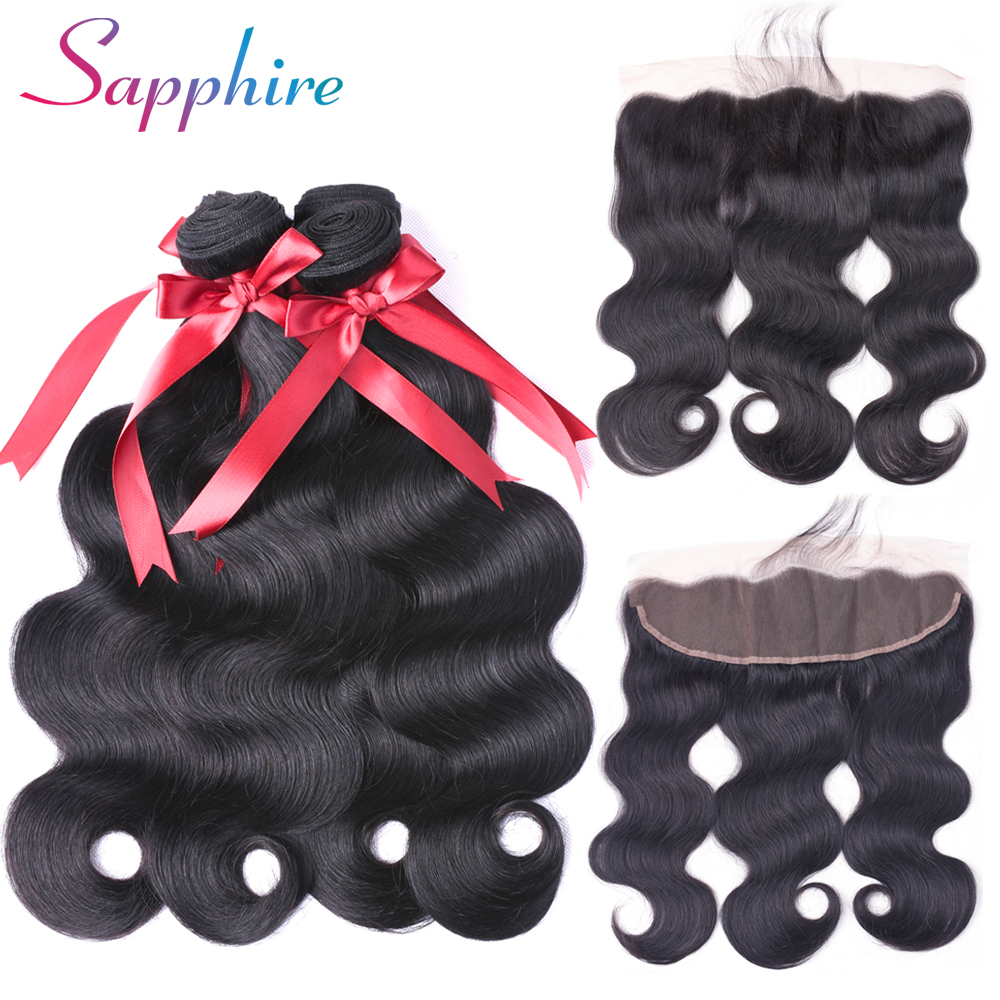 Sapphire Human Hair 4 Bundles Brazilian Body Wave with Frontal Closure 13*4 Ear To Ear Lace Frontal Closure with Bundles NonRemy