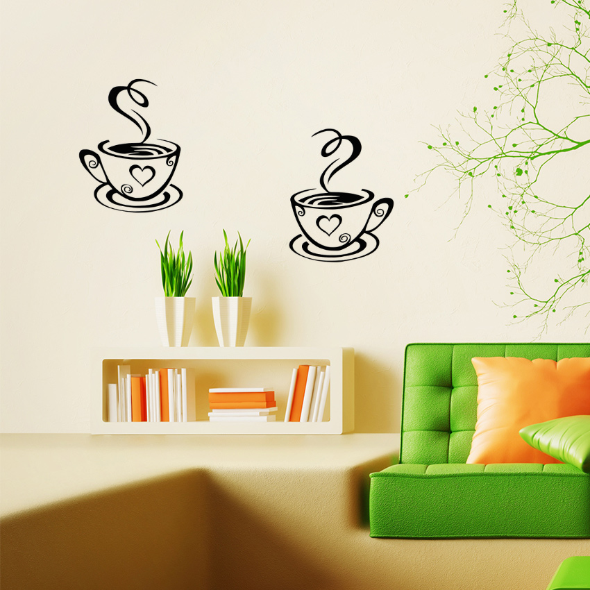 TIE LER New Arrival Beautiful Design Coffee Cups Cafe Tea Wall Stickers Art  Vinyl Decal Kitchen Restaurant ...
