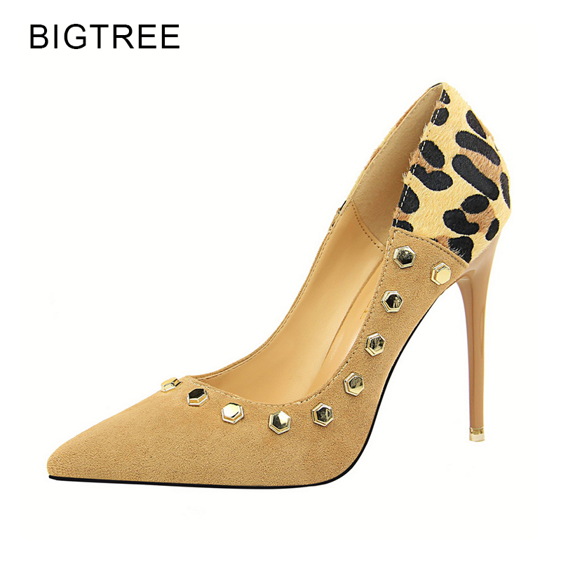 Bigtree Sexy High Heels Leopard Women Shoes 2018 Spring New Rivet Flock Thin Heels Pointed Toe Party Shoe Red Female Shoes 34 40 wholesale lttl new spring summer high heels shoes stiletto heel flock pointed toe sandals fashion ankle straps women party shoes