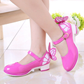 Child Single Shoes For Girls Kids Leather High-Heeled Shoes Fashion Princess Party Shoes With Bow
