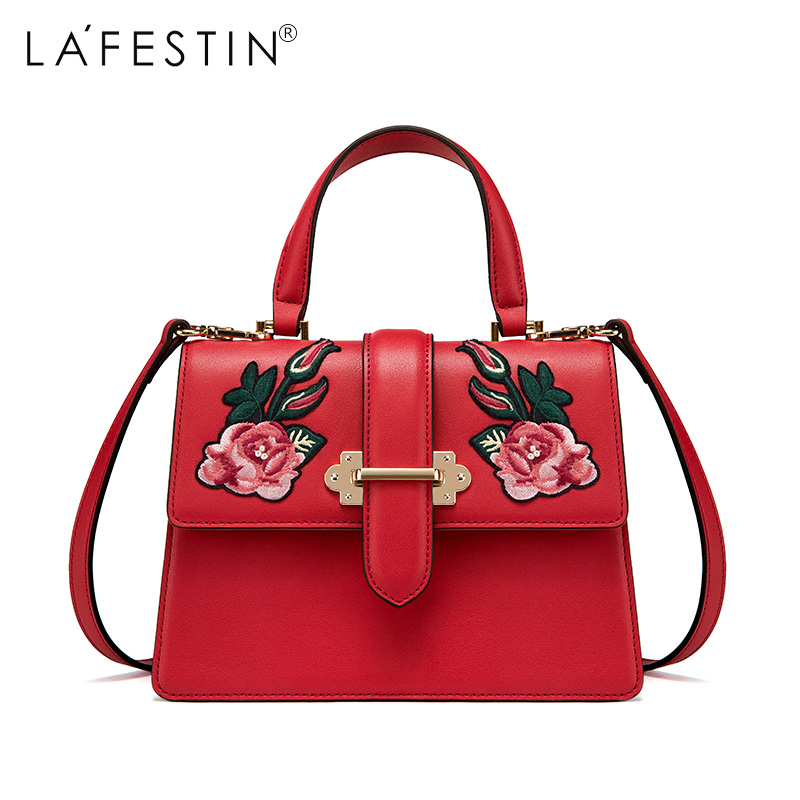 LAFESTIN 2017 Designer Embroidery Handbag Real Leather Bag Fashion Women Totes Shoulder Luxury brands Bag bolsa lafestin luxury shoulder women handbag genuine leather bag 2017 fashion designer totes bags brands women bag bolsa female