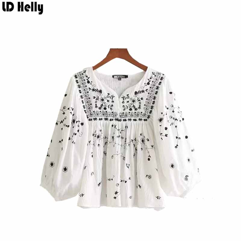 LD Helly Fashion New Casual Floral Embroidery Loose Blouses V-Neck Three Quarter Sleeve  ...