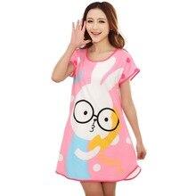 FUNOC 2016 New Summer Women Cute Animals nightgown Cartoon Polka Dot Sleepwear Night wear Short Sleeve Sleepshirt Sleepdress E1
