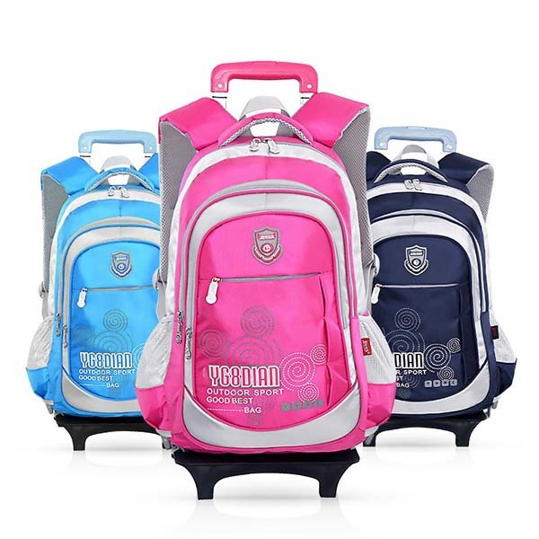 Removable Children Trolley School Bag Backpack With Wheels Kids Rolling High