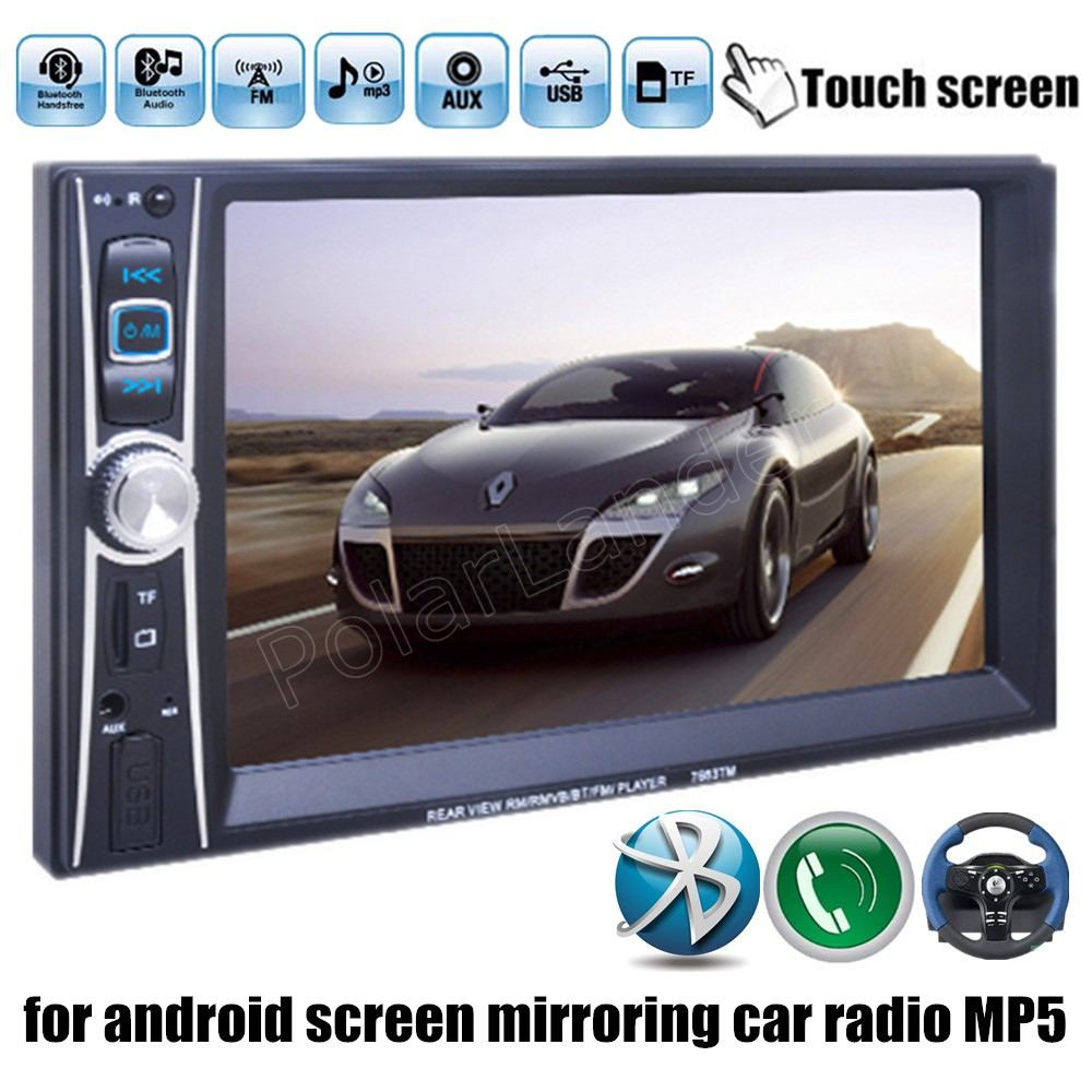 hot 2 din 6.6 Inch car radio bluetooth MP4 MP5 player stereo video touch rear camera/DVR input for android screen mirroring
