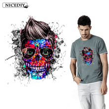 Nicediy Punk Skull Iron On Heat Transfer Vinyl PVC Patches Clothes Hot Thermal Sticker Tshirt Washable
