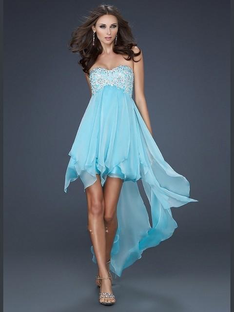 52ffd881350e New Vestido de Festa Strapless Pink and Ice Blue Short Front Long Back Soft  Flowy Prom Dress Party Dresses Summer Beach Dresses
