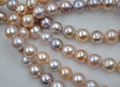 GORGEOUS 10.5-11.5mm round Natural with Rainbow Furrow Kasumi pearl string