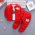 iAiRAY 3pcs baby girl clothes baby suit kawaii clothes children clothing set trousers girls white shirt red coat pants