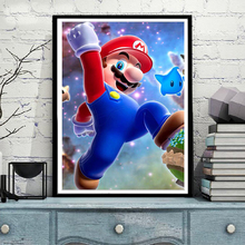 "Full Square/round 5D DIY Diamond Painting ""Super Mario Game poster"" Embroidery Cross Stitch Mosaic Home Decor Child Gift  NEW239"