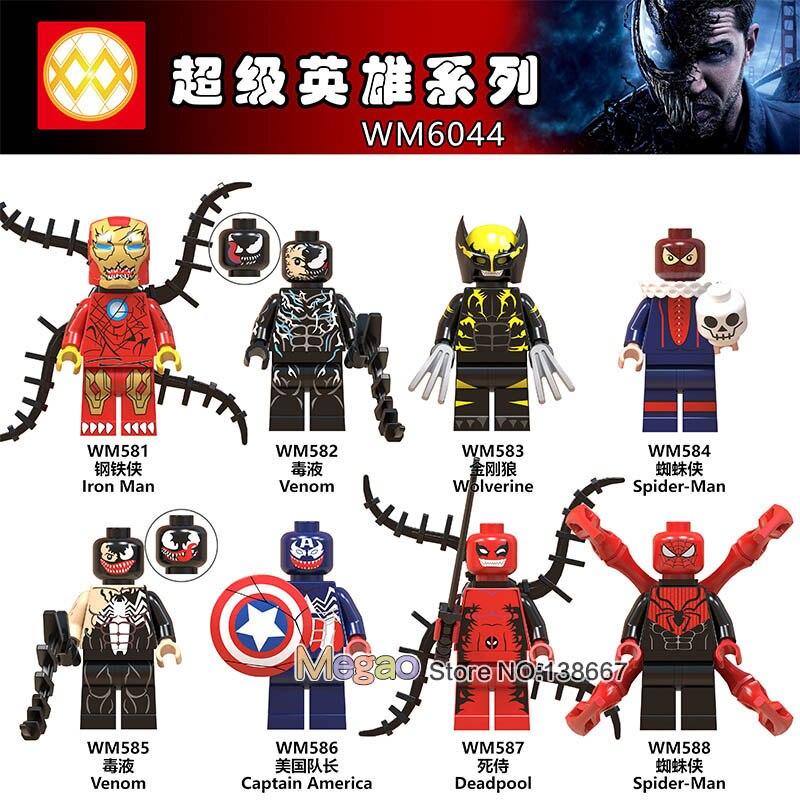 8PCSLOT Legoings Marvel Venom Wolverine Iron Man Captain America Deadpool Spiderman Super Heroes Building Blocks Kids Toys