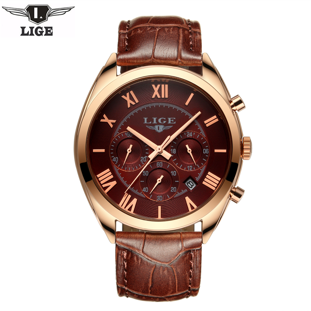 Lige 2017 mens watches top brand luxury quartz watch casual leather sports wrist watch montre for Lige watches