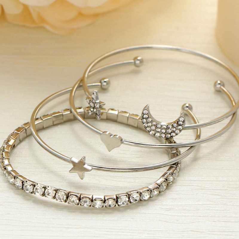 4 sztuk/zestaw Punk Retro urok prosty Moon Star serce kryształ elastyczność bransoletka Party biżuteria akcesoria do włosów dla kobiet
