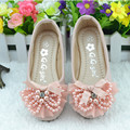 2016 Autumn Princess Footwear New Style Girl Pearl Shoes Girls Party Leather Shoes Kids Pink Soft Shoes 150807