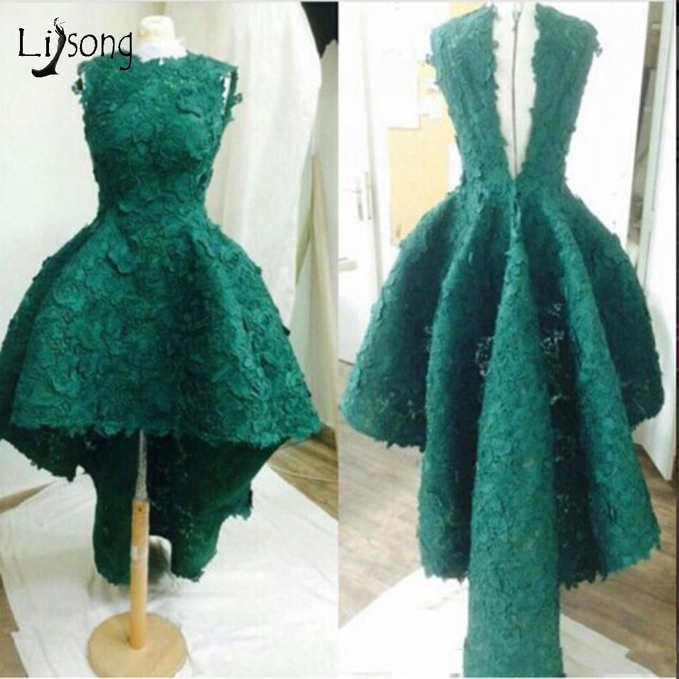 Arabia Emerald Green High Low Lace Evening Dresses Vintage Long Evening Gowns O Neck V Back