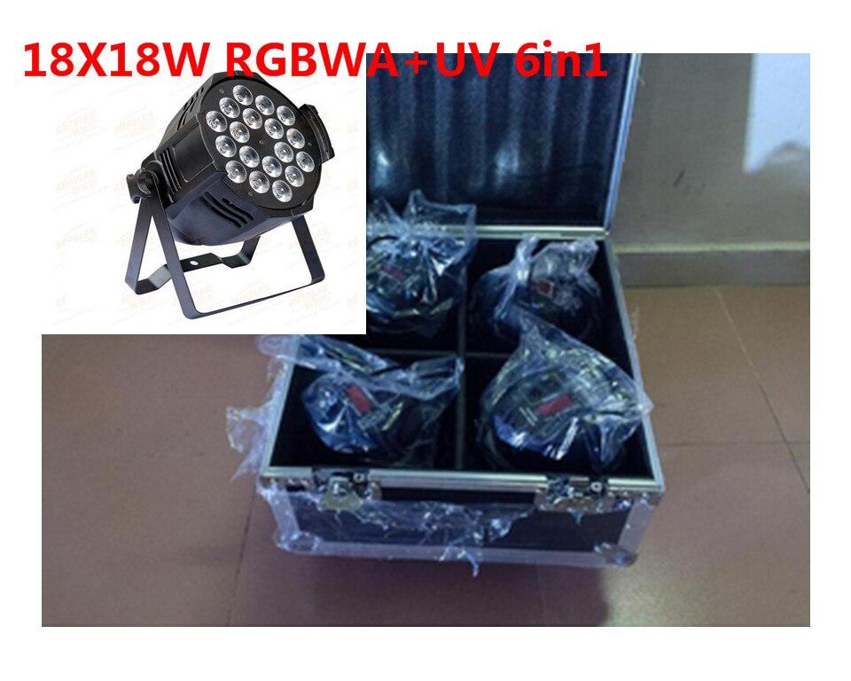 все цены на 4 unids 18x18 w led par luces con 1 flight case uv 6in1 rgbwa led par luz онлайн