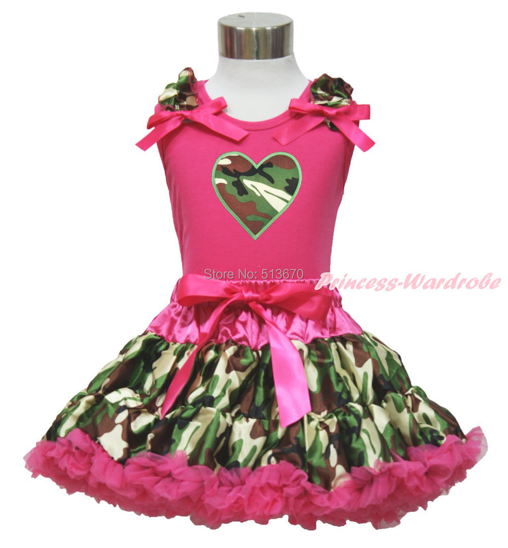Valentine's Day Camouflage Heart Hot Pink Top Baby Girl Pettiskirt Outfit 1-8Y MAPSA0326 xmas red orange yellow black roses brown top baby girl pettiskirt outfit 1 8y mapsa0038
