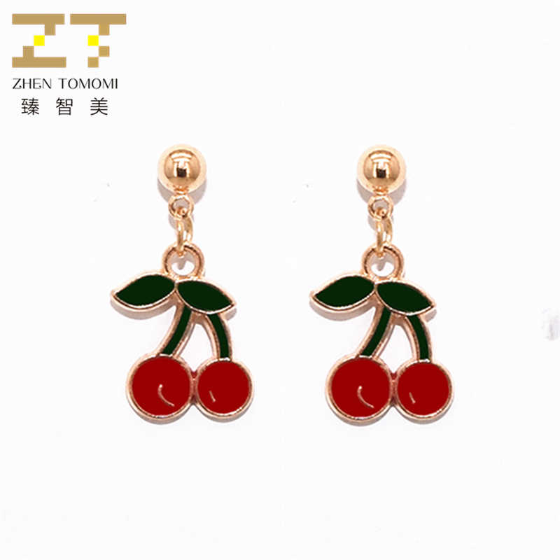 2019 New Arrivals Hottest Women's Fashion Gold Color Metal Ball Earrings Bijoux Red Cherry Drop Earrings For Women Jewelry