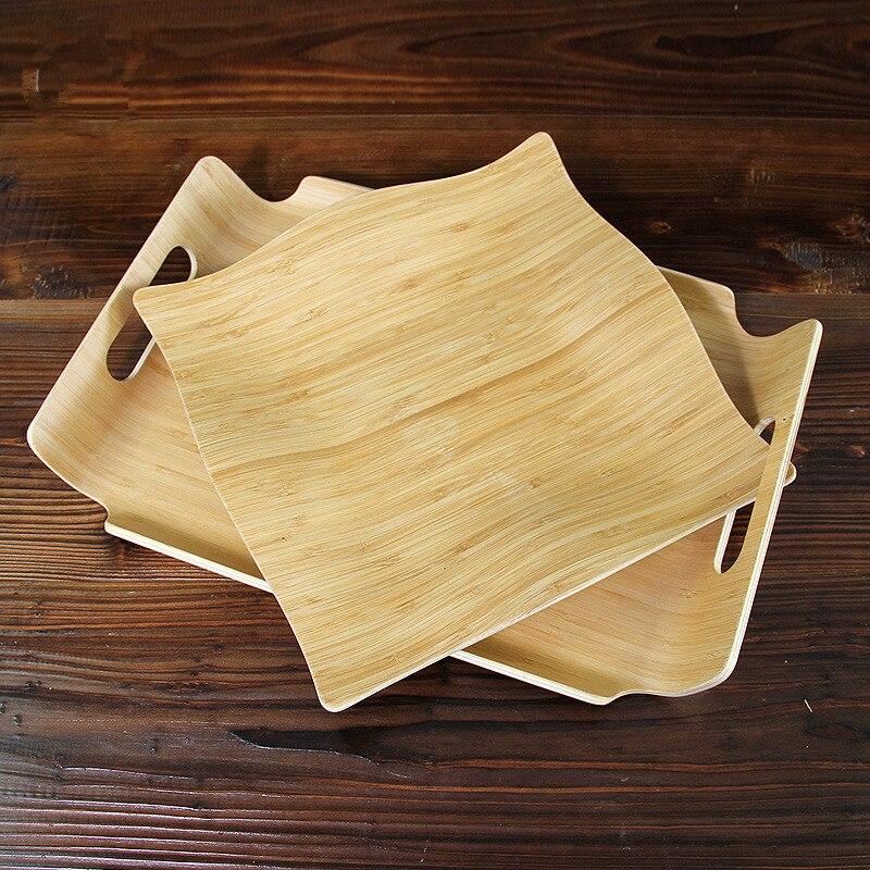 Yaratıcı Bambu Meyve Çay Tepsisi Doğal Ahşap Hizmet Tabaklar - Evdeki Organizasyon ve Depolama - Fotoğraf 4