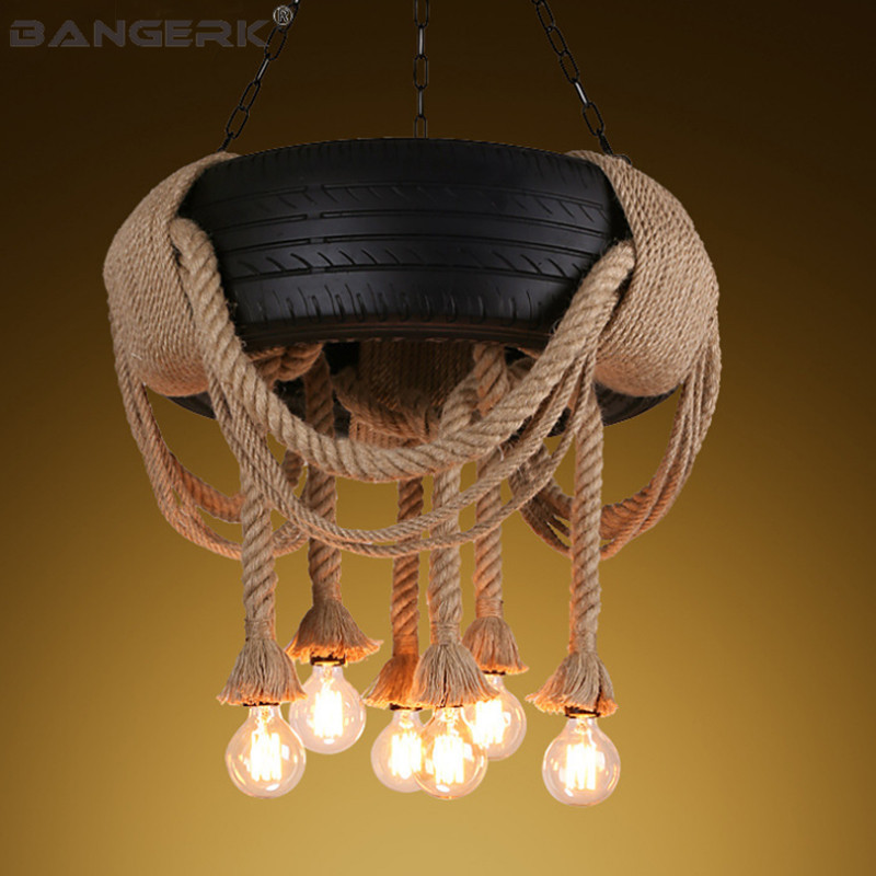 Vent industriel chanvre corde pneus Loft suspension lumière RH nordique Design Edison Vintage suspension lampe éclairage décor à la maison