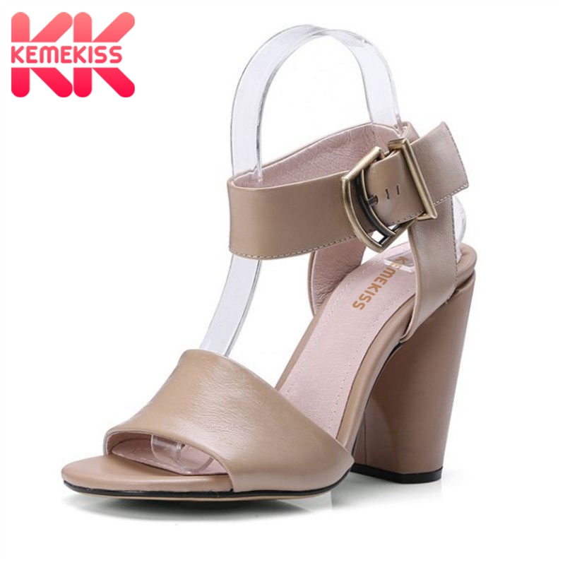 KemeKiss Simple Office Lady Genuine Leather High Heel Sandals Ankle Strap Open Toe Thick Heel Sandals Summer Shoes Size 34-39 women flowers thick high heel open the toe genuine leather sandals lady real leather peep toe plum blossom summer shoes 20180118