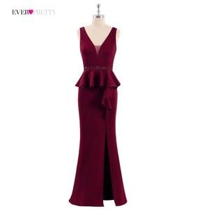 Image 5 - 2020 שמלות נשף אי פעם די EP07271 אלגנטי אונליין צווארון V שרוולים רגל סדק בורגונדי ואגלי ערב מסיבת שמלות לנשים
