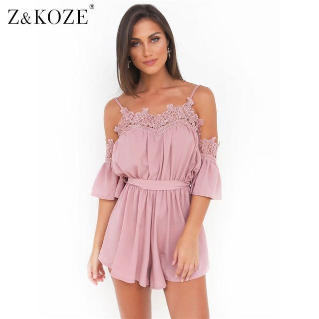 8a21da881393 Z KOZE Fashion white lace off shoulder jumpsuit romper Summer beach flare  sleeve playsuit Women sexy slim soft chiffon overalls