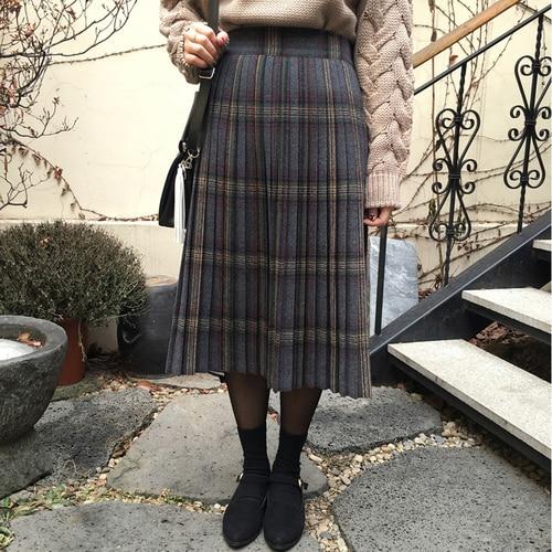 Fall Winter Thick Scotland Kilt Skirt Women Midi Tartan Kilts Vintage Harajuku Mid Plaid Pleated Skirts