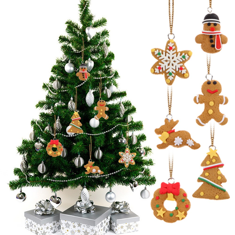 Yearly christmas ornaments - 6pcs Lot Christmas Ornament Polymer Clay Pendants Tree Hanging Gift Decoration New Year Decoration