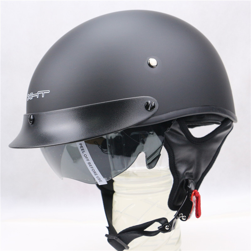 Hot Sale Vintage Open Face Motorcycle Helmet Bike Harley Retro Half Face Helmets Casque Moto With Inner Sun Visor DOT Approved