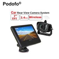 Podofo Draadloze 2.4 GHz 7 Inch TFT LCD Auto Monitor Achter View Systeem met Waterdichte 15 IR Nachtzicht Parking Omkeren Camera