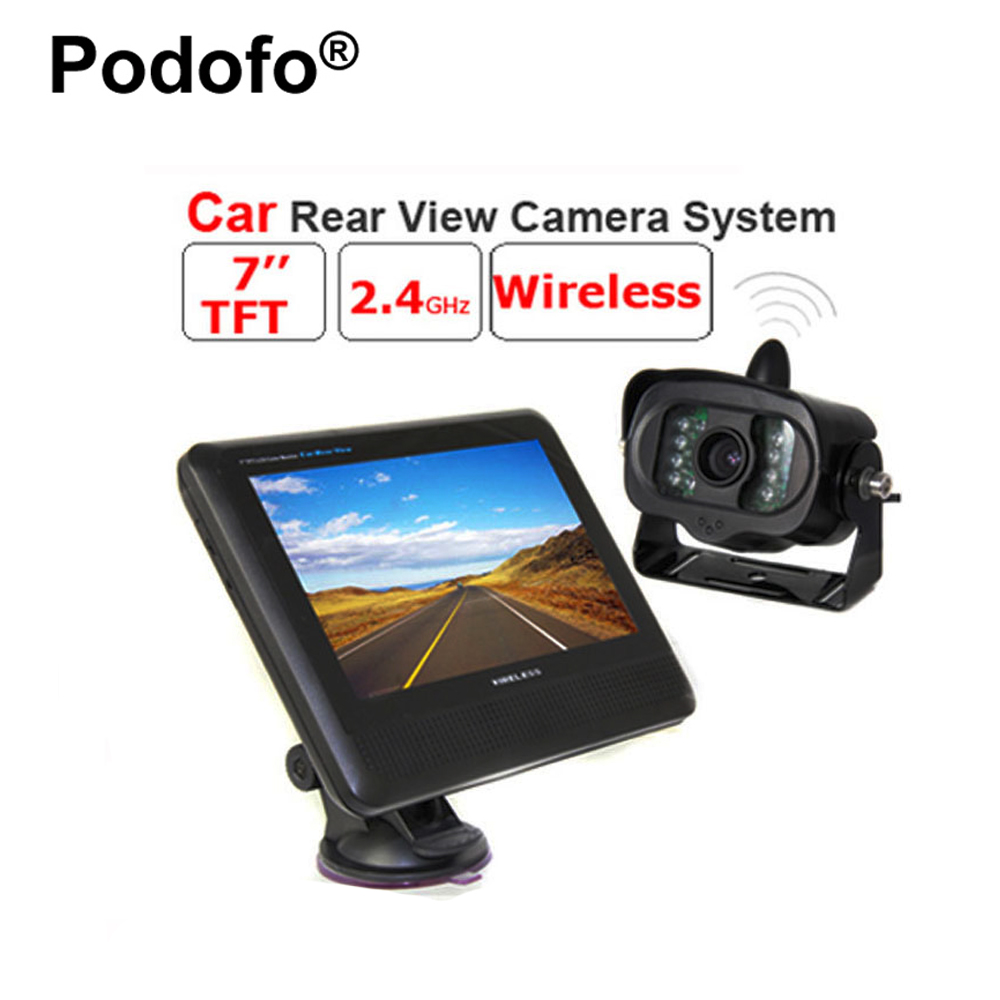 Podofo Wireless 2.4GHz 7 Inch TFT LCD Car Monitor Rear View System with Waterproof 15 IR Night Vision Parking Reversing Camera цены онлайн