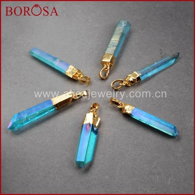 BOROSA nouveaux pendentifs en cristal Aura, collier Druzy pendentifs bleu titane AB couleur Aura Quartz cristal Point pendentif perles G0360-1