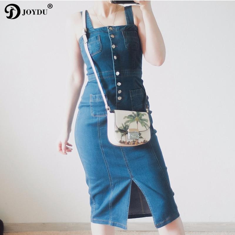 JOYDU BEST QUALITY 2017 Summer Denim Dress Women Jean Beach Straps Long Dress High Waist Split Boho Dress Female vestidos mujer