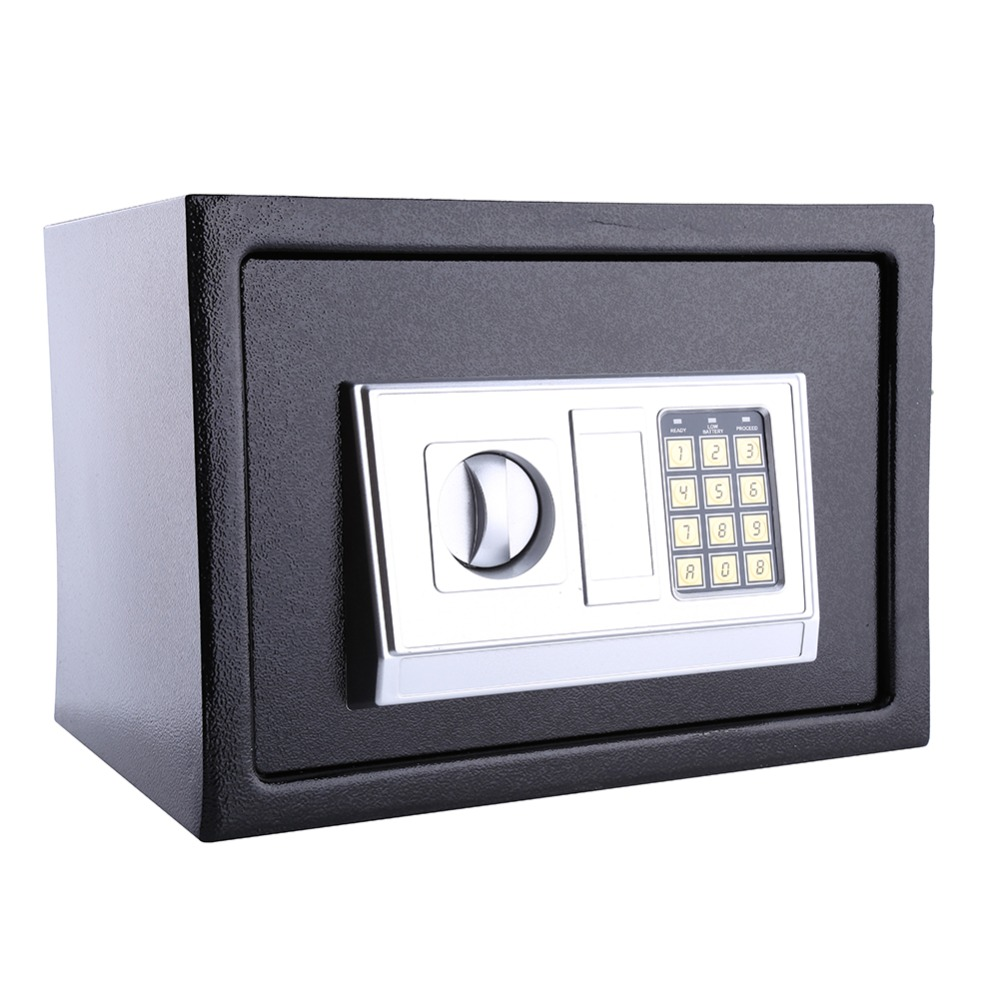 Solid Steel Security Lock Digital Safe Storage Box To Guard Money Cash Coins Jewelry Key Cash 25EA steel safe box key lock money jewelry storage security box for home school office with compartment tray lockable safes size xl