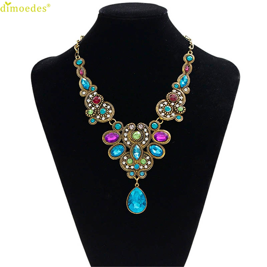 Diomedes Newest Necklace Women 1PC Pendant Chain Women Statement Crystal Bib Beaded Collar Necklace Choker Gothic Choker #1208