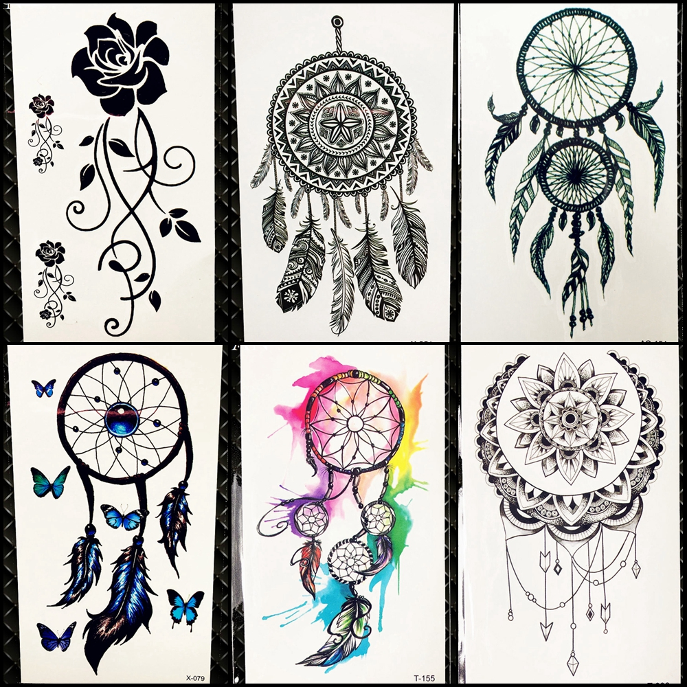 Temporary Tattoo Ink Like Henna: Black Henna Dreamcatcher Temporary Tattoo Sticker Women