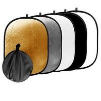 90 120CM 5 In 1 Photo Studio Collapsible Light Reflector Case Camera Accessories Translucent Silver