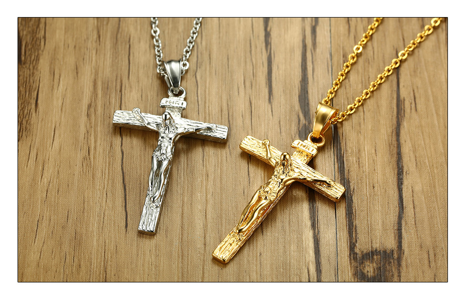 Meaeguet Vintage Cross INRI Crucifix Jesus Pendant & Necklace For Men Women Stainless Steel Christian Jewelry Gifts- 24 Chain (8)