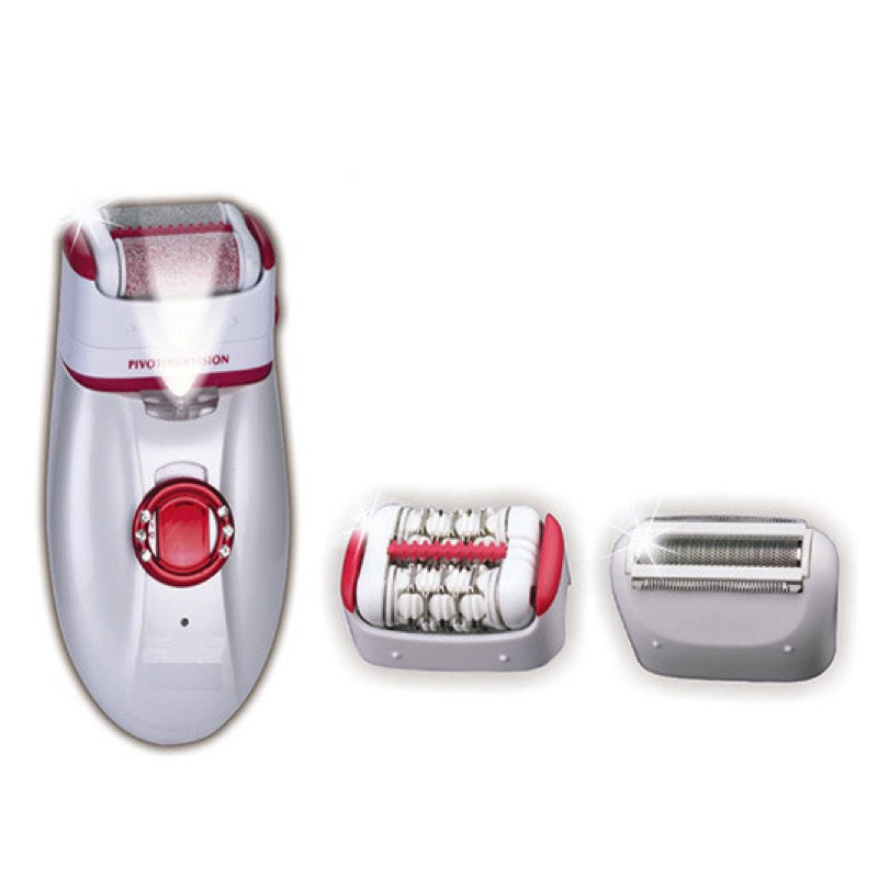 3 in 1 Rechargeable Women Epilator 2 Speed Foot Callus Remover Electric Lady's Shaver With Light For Body Underarm Bikini km 2199 5 in 1 electric epilator facial brush callus remover