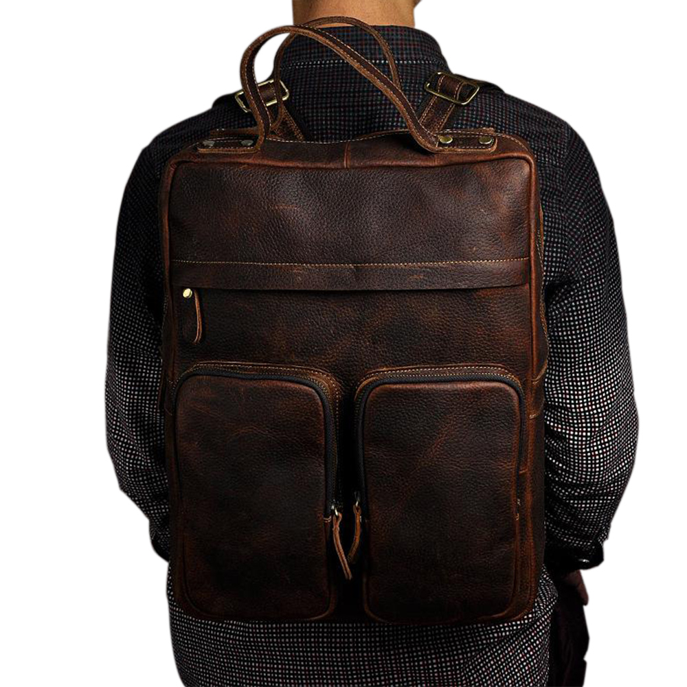 Fashion Retro Style Men's Backpacks Geniune Leather Large Capacity 15 Inch Computer Bags Western Style Double Shoulder Bags baile anal beads розовая анальная цепочка