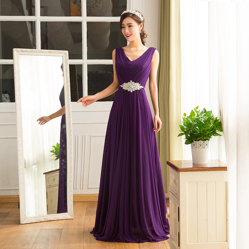 Plus Size Purple Navy Blue Bridesmaid Dresses Long Chiffon Wedding
