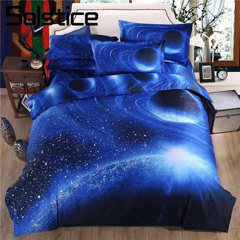 Solstice Home Textile 3D Cosmos Starry Sky Galaxy Pattern Bedding Sets Duvet Cover Pillowcase Bed Sheets 2/3/4PCS  Blue Linen
