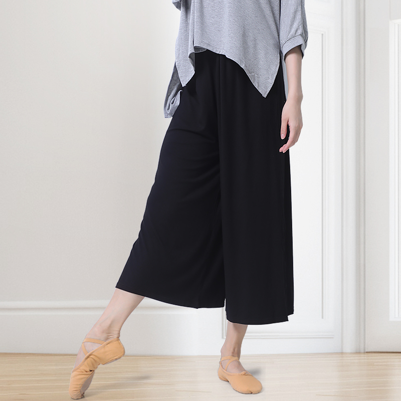 Loose Ballroom Ballet Dance Pants Solid Color Wide Leg Pants Women High Waist Elastic Trousers Summer in Ballet from Novelty Special Use