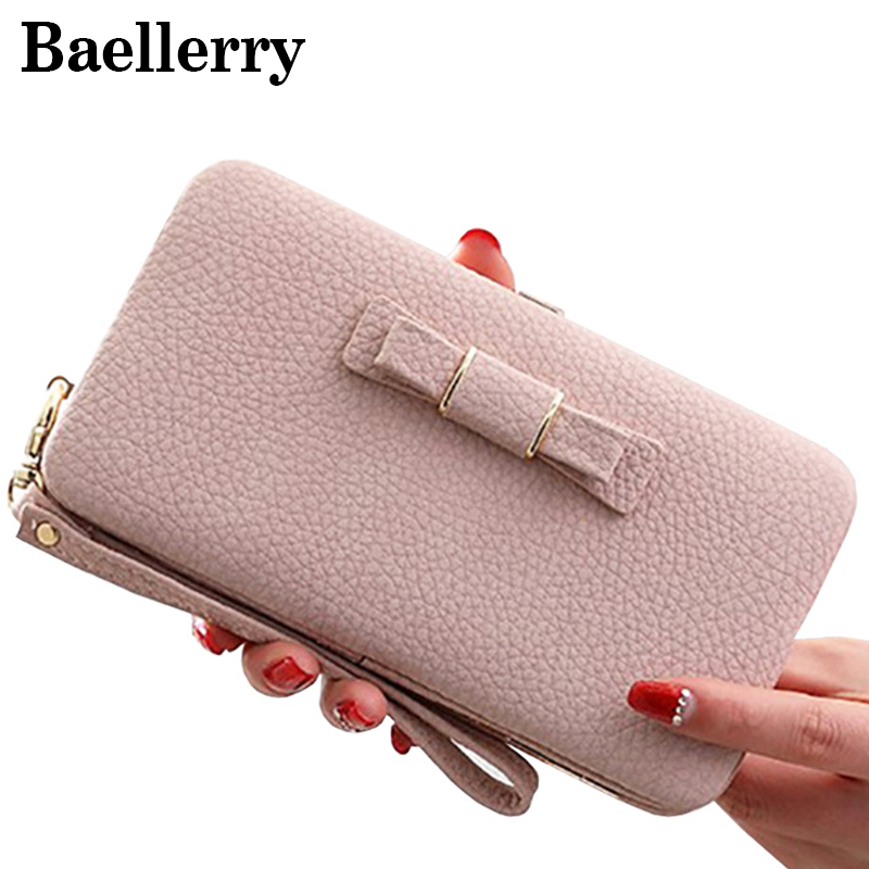 Fashion bow tie women wallet leather wallet female large for Porte a porte clothing