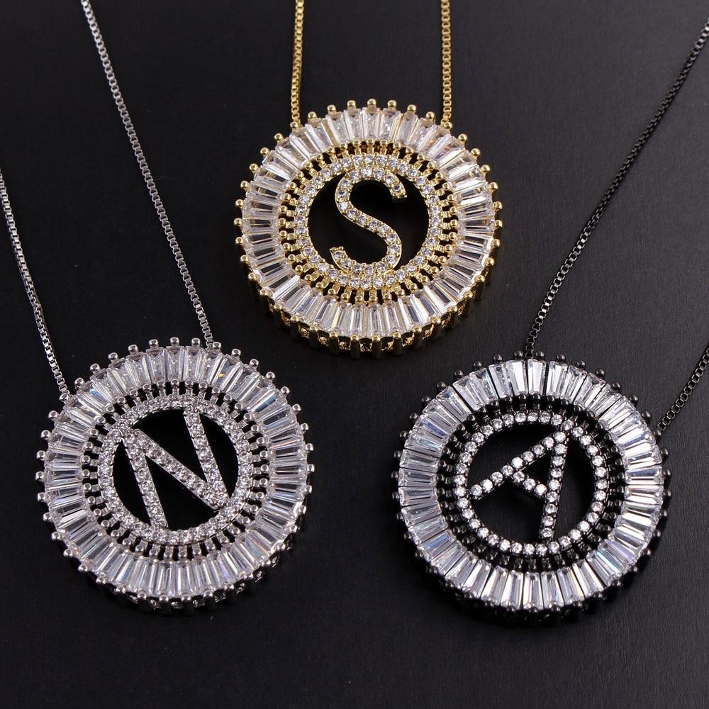 MHS.SUN Luxury 26 Letter Pendant Necklace Women Men AAA Zircon Chain Necklace Mosaic CZ Crystal Alphabet Choker Jewelry Gift 1PC