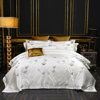 New Luxury High Quality Embroidery Tencel Silk Bedding set King Queen White set Duvet Cover Bedspread Butterfly Jacquard Flower